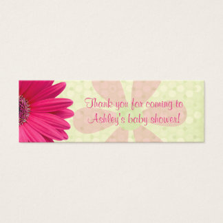 Pink Gerber Daisy Baby Shower Favor Tags Mini Business Card