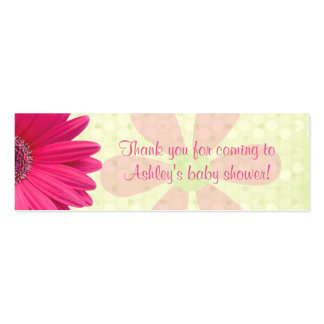 Pink Gerber Daisy Baby Shower Favor Tags Pack Of Skinny Business Cards