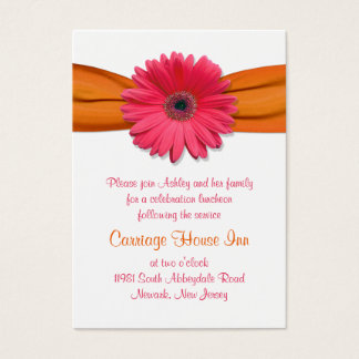 Pink Gerber Daisy Bat Mitzvah Reception Card