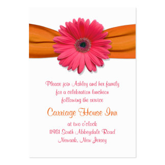 Pink Gerber Daisy Bat Mitzvah Reception Card Large Business Cards (Pack Of 100)