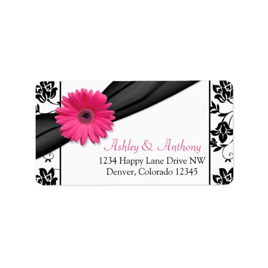 Pink Gerber Daisy Black Damask Wedding Address Label