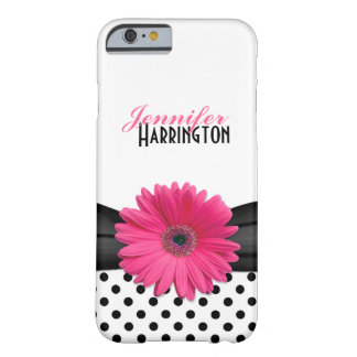 Pink Gerber Daisy Black Polka Dot iPhone 6 case Barely There iPhone 6 Case