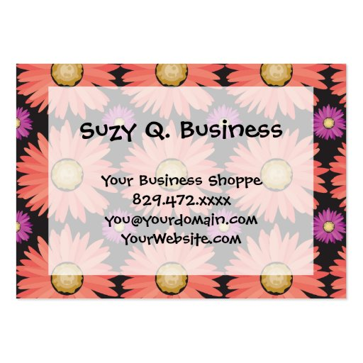 Pink Gerber Daisy Flowers on Black Floral Pattern Business Card