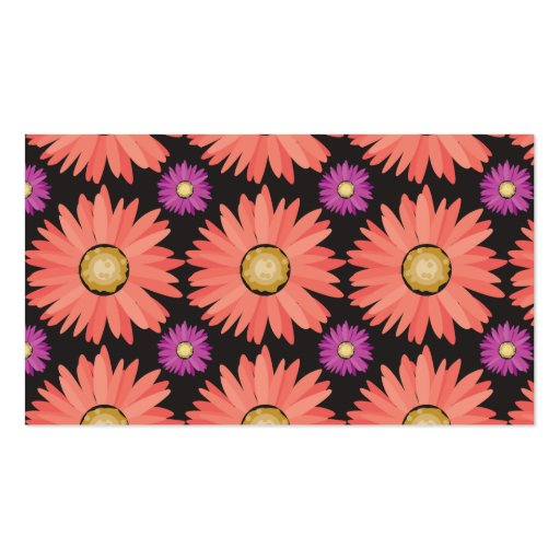 Pink Gerber Daisy Flowers on Black Floral Pattern Business Cards