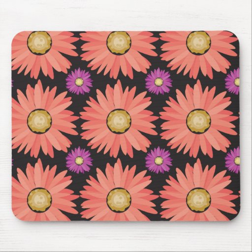 Pink Gerber Daisy Flowers on Black Floral Pattern Mousepads