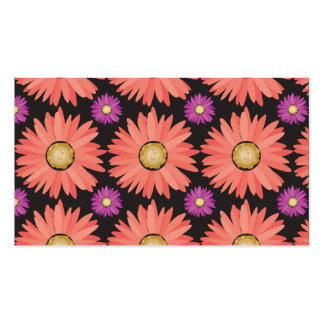 Pink Gerber Daisy Flowers on Black Floral Pattern Pack Of Standard Business Cards