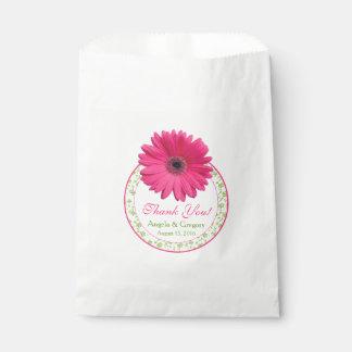 Pink Gerber Daisy Green Candy Buffet Wedding Favor Favour Bag