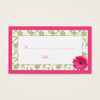 Pink Gerber Daisy Green Damask Wedding Place Cards
