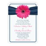 Pink Gerber Daisy Navy Ribbon Wedding Invitation