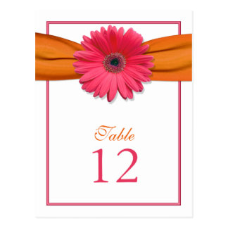 Pink Gerber Daisy Orange Ribbon Table Number Card