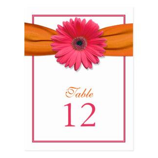 Pink Gerber Daisy Orange Ribbon Table Number Card Postcard