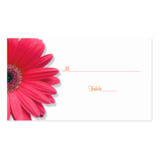Pink Gerber Daisy Orange Ribbon Wedding Place Card Double-Sided Standard Business Cards (Pack Of 100)