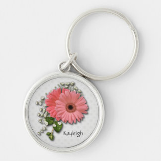 Pink Gerber Daisy Personalized Keychain
