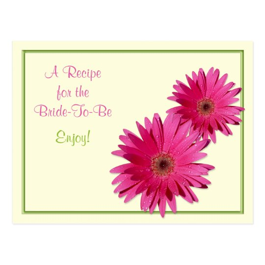 Pink Gerber Daisy Recipe Card for the Bride to Be