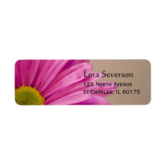 Pink Gerber Daisy Return Address Label