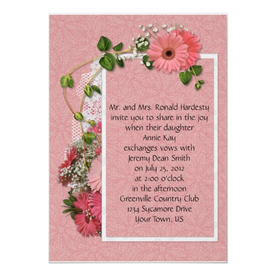 Pink Gerber Daisy Wedding Invitation
