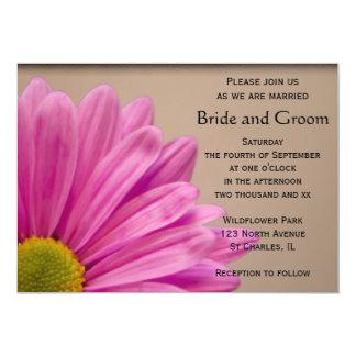 "Pink Gerber Daisy Wedding Invitation 5"" X 7"" Invitation Card"