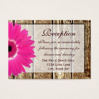 Pink Gerber Daisy Wedding Reception Direction Card
