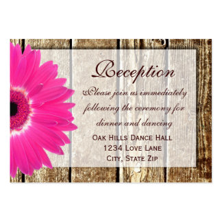 Pink Gerber Daisy Wedding Reception Direction Card Pack Of Chubby Business Cards