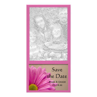 Pink Gerber Daisy Wedding Save the Date Photo Card