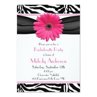 Pink Gerber Daisy Zebra Print Bachelorette Party 11 Cm X 16 Cm Invitation Card