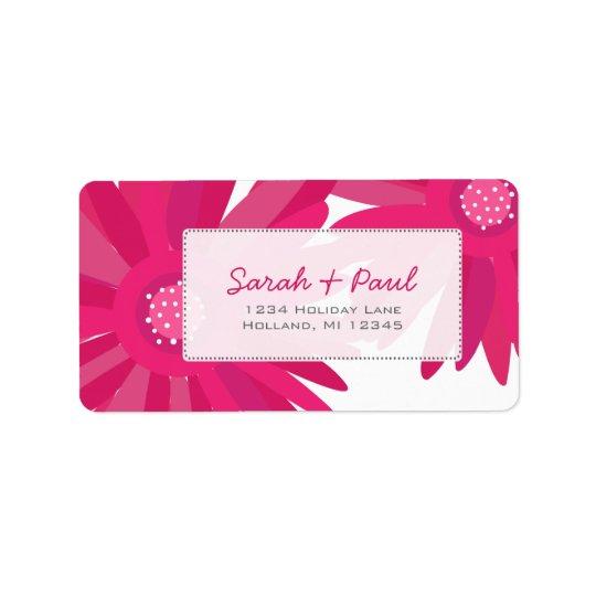 Pink Gerber Flowers Return Address Label