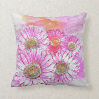 Pink Gerber in Painterly Watercolor Throw Cushions