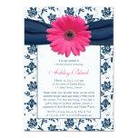 Pink Gerber Navy Damask Bridal Shower Invitation 13 Cm X 18 Cm Invitation Card