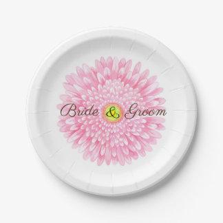 Pink Gerbera 7 inch Paper Plate