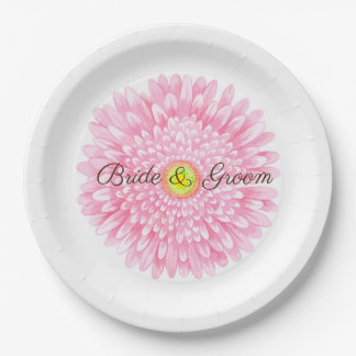 Pink Gerbera 9 inch Paper Plate