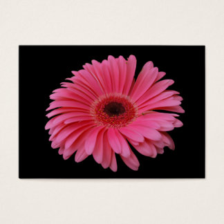 Pink Gerbera Black ACEO Business Card