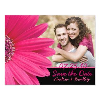Pink Gerbera Black Photo Save the Date Card 11 Cm X 14 Cm Invitation Card