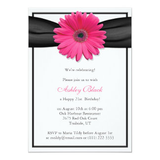 Pink Gerbera Black Ribbon Birthday Invitation