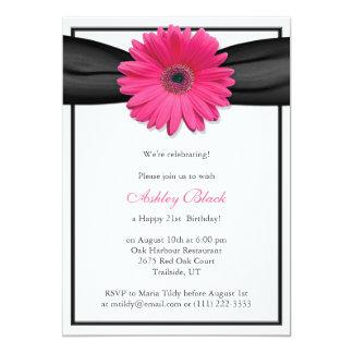 Pink Gerbera Black Ribbon Birthday Invitation
