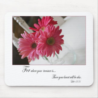 Pink gerbera daisies flower religious quote mouse pad