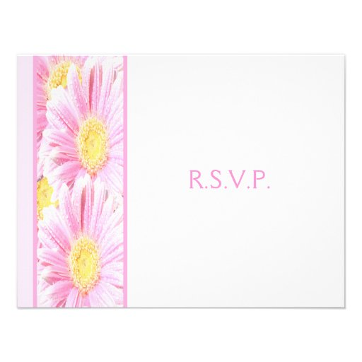 Pink Gerbera Daisies on White Reply Card