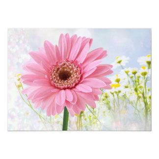 "Pink Gerbera daisy any occasion Invitation 5"" X 7"" Invitation Card"