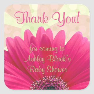 Pink Gerbera Daisy Baby Shower Thank You Square Sticker