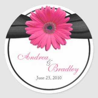 Pink Gerbera Daisy Black Personalized Wedding Classic Round Sticker