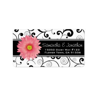 Pink Gerbera Daisy Black & White Scroll Label
