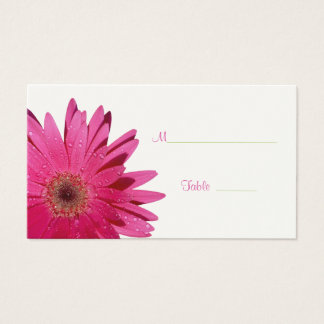 Pink Gerbera Daisy Cream Place Card