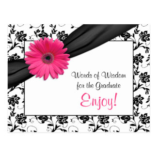 Pink gerbera daisy damask graduation advice postcard