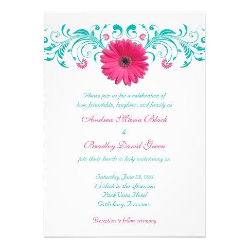 Hot Pink Gerbera Daisy White Wedding Invitation 5 X 7: Pink Gerbera Daisy Floral Wedding Invitation 13 Cm X 18 Cm