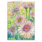 Pink Gerbera Daisy Flower Bouquet Happy Birthday Card