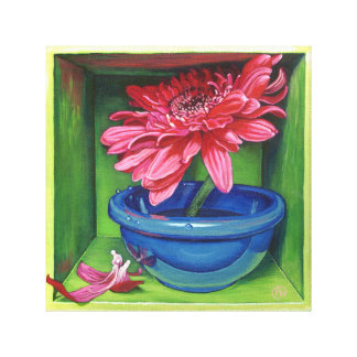 Pink Gerbera Daisy Flower Painting Wrapped Canvas Gallery Wrapped Canvas
