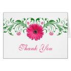 Pink Gerbera Daisy Green Floral Wedding Thank You Card