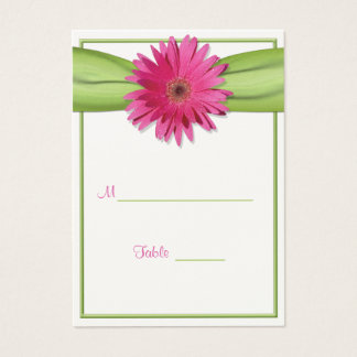 Pink Gerbera Daisy Green Ribbon Place Card