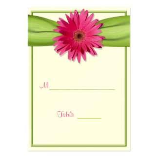 Pink Gerbera Daisy Green Ribbon Place Card Pack Of Chubby Business Cards