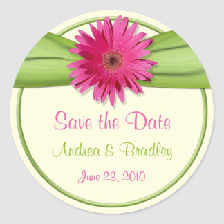 Pink Gerbera Daisy Green Wedding Save the Date Round Sticker