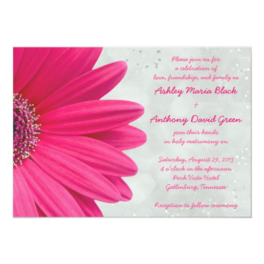 Pink Gerbera Daisy Grey Grey Wedding Invitation